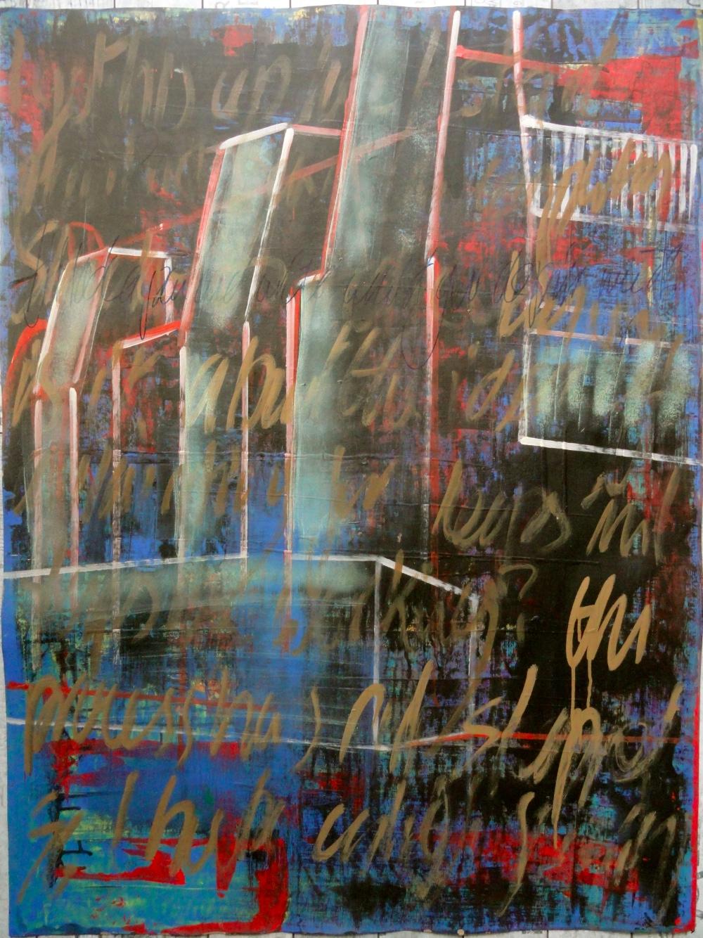 Cheryl Penn Painting asemic writing